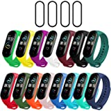 Milomdoi [19 Items] 15 Colors Straps Bracelet + 4pack PET Screen Protector for Xiaomi Mi Band 5, Soft Silicone Replacement Ba