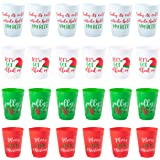 Christmas Plastic Party Cups - 24-Pack Reusable Tumblers, 16-Ounce Plastic Cups Holiday Party Supplies, 4 Assorted Festive Dr