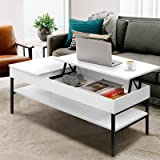 Artiss Coffee Table Wooden Space-Saving Lift-up Coffee Table, White