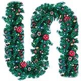 Ncknciz Christmas Garlands 9 Feet 100 LED Prelit Garland with Lights Plug in Christmas Greenery Garlands Pine Garland with Re