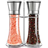 Original Stainless Steel Salt and Pepper Grinder Set With Stand - Tall Salt and Pepper Shakers with Adjustable Coarseness - S