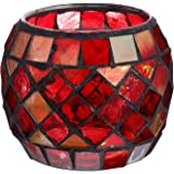 Uonlytech Glass Votive Candle Holder for Home, Red Mosaic Tea Light Holders Vintage Glass Cup Candlestick Tabletop Ornament f