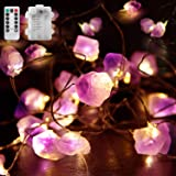 10FT Natural Amethyst String Lights Battery Operated Crystal Light, Waterproof Decorative Amethyst LED Light with Remote & Ti