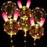 Easter Bunny Light up Balloons LED String Lights BoBo Balloon Lights for Easter Day Party Decoration 6 Pack