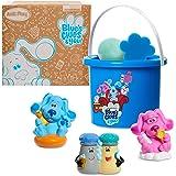 Just Play Blue's Clues & You! Bath Bucket 7-Piece Set, Includes 3 Water Toys, 1 Figure, Bath Fizzy, Sponge and Bucket, Amazon