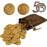 50 D&D Fantasy Metal Gold Coins & Leather Pouch for Dungeons & Dragons Novelty Tabletop RPG Board Games Tokens Treasure Coins