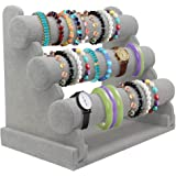Bracelet Holder with Three Tier Rack ~ Velvet Bracelet Stand ~ Jewelry Organizer ~ Bangle Display (Grey - 3 Tier Stand)