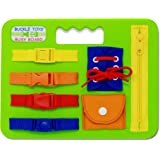Buckle Toys Busy Board - Learn to Snap, Zip, Tie Shoe Laces and Buckle