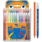 BIC Kids Colouring Set - 18 Assorted Coloured Pencils/12 Assorted Felt Tip Pens, Portable Case of 30 Colouring Pieces For Kid