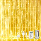 Curtain Lights Christmas String - 300 Led Fairy Lights Battery Operated or USB Powered, Window Curtain String Lights for Wedd