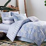 Paisley Bedding Design Skin Friendly 3Pcs Duvet Cover Set 800 TC 100% Cotton,Twin Size,Blue