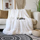 "Decorative Extra Soft Faux Fur Blanket Full Size 70"" x 78"",Solid Reversible Fuzzy Lightweight Long Hair Shaggy Blanket,Fluffy"