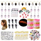 134pcs Meow Cat Party Favors Pack Supplies-Cat Necklaces,Bracelets,Keychains,Stickers,Nail Decors,Hair Clips,Tattoos,Gift Bag