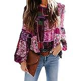 Pevilo Women's Floral Printed Boho Shirts Loose Long Sleeve Casual Blouses Tops