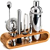 Bartender Kit: 11-Piece Bar Tool Set with Stylish Bamboo Stand - Perfect Home Bartending Kit and Martini Cocktail Shaker Set