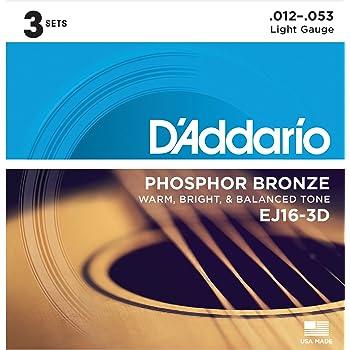 D'Addario ダダリオ アコースティックギター弦 フォスファーブロンズ Light .012-.053 EJ16-3D 3set入りパック 【国内正規品】