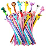 64 Pieces Cute Cartoon Gel Ink Pens Cartoon Animal Writing Pens 0.5 mm Assorted Styles Pens Stationery for School Office Home
