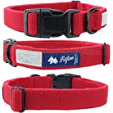 Petfino Natural Hemp Dog Collar (Double Leash) Fleece-Lined Collar with Reflective Safety Strip Soft (Large, Pure Red)