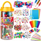 (X Large) - Mega Kids Art Supplies Jar - Over 1,000 Pieces of Colourful and Creative Arts and Crafts Materials - Glue, Safety