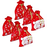 6 Giant Christmas Gift Bags 36 x 44 Reusable Made of Durable Fabric with Ribbon and Gift Tag for Holiday Wrapping Extra Large