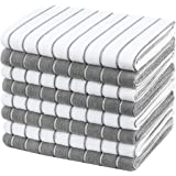 Gryeer Microfiber Dish Towels - 8 Pack (Stripe Designed Gray and White Colors) - Soft, Super Absorbent and Lint Free Kitchen