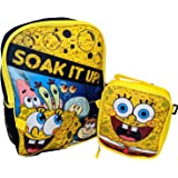 "Spongebob Cartoon School 16"" Backpack Bookbag with Insulated Lunch Box Set + Name Tag"
