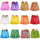 Grass Skirt Hawaiian Luau Hula Skirts Party Decorations Favors Supplies Multicolor Grass skirts for kids Elastic Hibiscus Flo