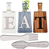 Cutting Board Eat Sign Set Hanging Art Kitchen Eat Sign Fork and Spoon Wall Decor Rustic Primitive Country Farmhouse Kitchen