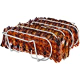 Rib Rack, Stainless Steel Roasting Stand, Holds 4 Ribs for Grilling Barbecuing & Smoking - BBQ Rib Rack for Gas Smoker or Cha