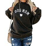 Heymiss Womens Dog Mom Shirt Long Sleeve Crew Neck Letter Print Sweatshirts