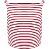 Wimaha Large Foldable Waterproof Red Stripe Laundry Hamper, Collapsible Canvas Durable Clothes Basket with Reinforced Round C
