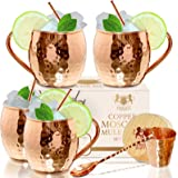 Moscow Mule Copper mugs Set Of 4 By B.WEISS Handmade Hammered Copper Cups 100% Pure Copper +Bonus: 4 copper straws 4 coasters