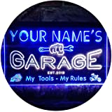 Personalized Your Name Est Year Theme Garage Man Cave Deco Dual Color LED Neon Sign White & Blue 300 x 210mm st6s32-pp1-tm-wb