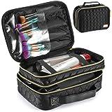 Makeup Bag for Women-Large Cosmetic Bag-Makeup Cosmetic Organizer-Two Layer Makeup Case-Toiletry Bag -Zipper Makeup Pouch-Bea