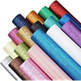 18 Pieces 8x12 Inch Fine Glitter Fabric Faux Leather Sheets Canvas Back DIY Craft for Hair Bows Making, Hair Clips Making, He