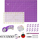 """Rdutuok 45mm Rotary Cutter Set Quilting Kit, 3 Replacement Blades, A3 Cutting Mat(18X12""""), Acrylic Ruler,Sewing Pins,Cushion,"""
