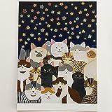 猫の足あと ポストカード「星に願いを」