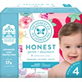 The Honest Company Club Box Diapers with TrueAbsorb Technology, Rose Blossom & Strawberries, Size 4, 60 Count