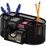 "Rolodex Mesh Pencil Cup Organizer, Four Compartments, Steel, 9 1/3"" x4 1/2""x4"", Black (1746466)"