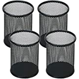 Snow Cooler Pen Holder Mesh Pencil Holder Metal Pencil Holder for Desk Office Pen Organizer Black, 4 Pack