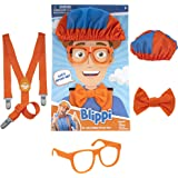 Blippi Costume Roleplay Accessories, Perfect for Dress Up and Play Time - Includes Iconic Orange Bow Tie, Suspenders, Hats an