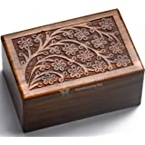 (Extra Small - 5 x 7.6cm x 5.1cm ) - Beautifully Handmade & Handcrafted Tree of Life Engraving Wooden Urns for Human Ashes Ad