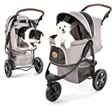 TOGfit Pet Roadster - Luxury Pet Stroller for Puppy, Senior Dog or Cat | Easy Foldable Three Wheels Travel Pet Jogger max. Lo