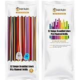32 Colors 3D Printing Pen PLA Filament Pack, Each 0.3 Meter, Each Color 5pcs, Total 160 Pcs 48 Meters PLA Refills, Fit for 3D