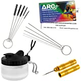 Master Airbrush 13 Piece Airbrush Cleaning Kit - Glass Cleaning Pot Jar with Holder 5 pc Cleaning Needles 5 pc Cleaning Brush