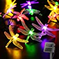 Dragonfly Solar String Lights Outdoor 20.8FT 30 LED Waterproof Solar Powered Fairy Lights, 8 Modes Decorative Lights for Pati