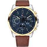 Tommy Hilfiger Men's Stainless Steel Quartz Watch with Leather Strap, Brown, 22 (Model: 1791561)