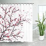 LIVILAN Pink Floral Bathroom Curtain Cherry Blossom Shower Curtains Set with 12 Hooks Fabric Bath Curtain Bathroom Decor, 70.