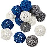 Yaomiao 6 Pieces Wicker Rattan Balls Decorative Orbs Vase Fillers for Craft Project, Wedding Table Decoration, Themed Party,