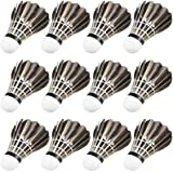 12 Pack Goose Feather Shuttlecocks Durable Training Shuttlecock for Badminton Indoor Outdoor Game Training